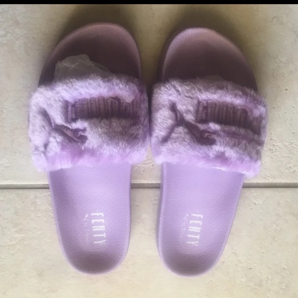 new arrival 8cc04 89c7e Fenty Fur Slides Lavender Orchid Silver Purple NWT